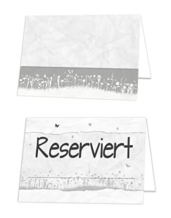 pack of 50 grey white black small flower reserved signs table