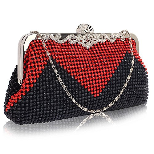 Beaded clutch Purse Bag For Womens Evening Handbag Designer Pearl New Style Crystal With Chain Design 1 - Black/Red