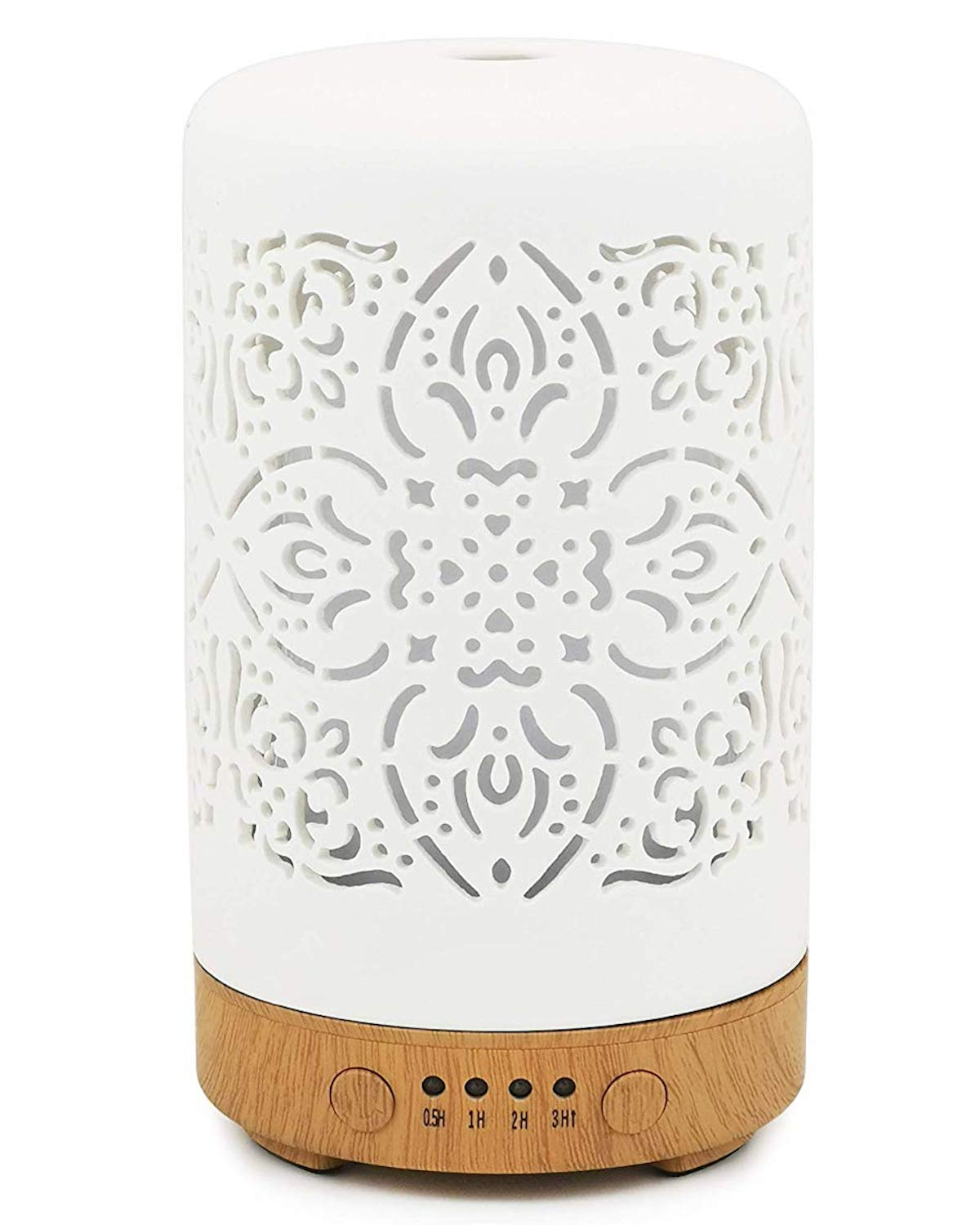 Elegant Life Essential Oil Diffusers Ultrasonic 100 ml White Ceramic Aromatherapy Diffuser with 4 Timer - Cool Mist Humidifier, 7 Colors LED Lights - Waterless Auto Shut off for Home Office Bed Room