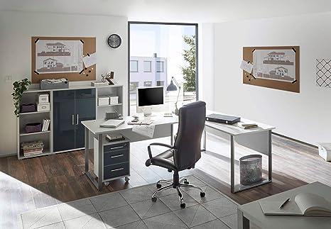 Komplettes Arbeitszimmer Büro Möbel Set Komplettset Office Lux In Lichtgrau Glas Graphit Lack 5 Teilig