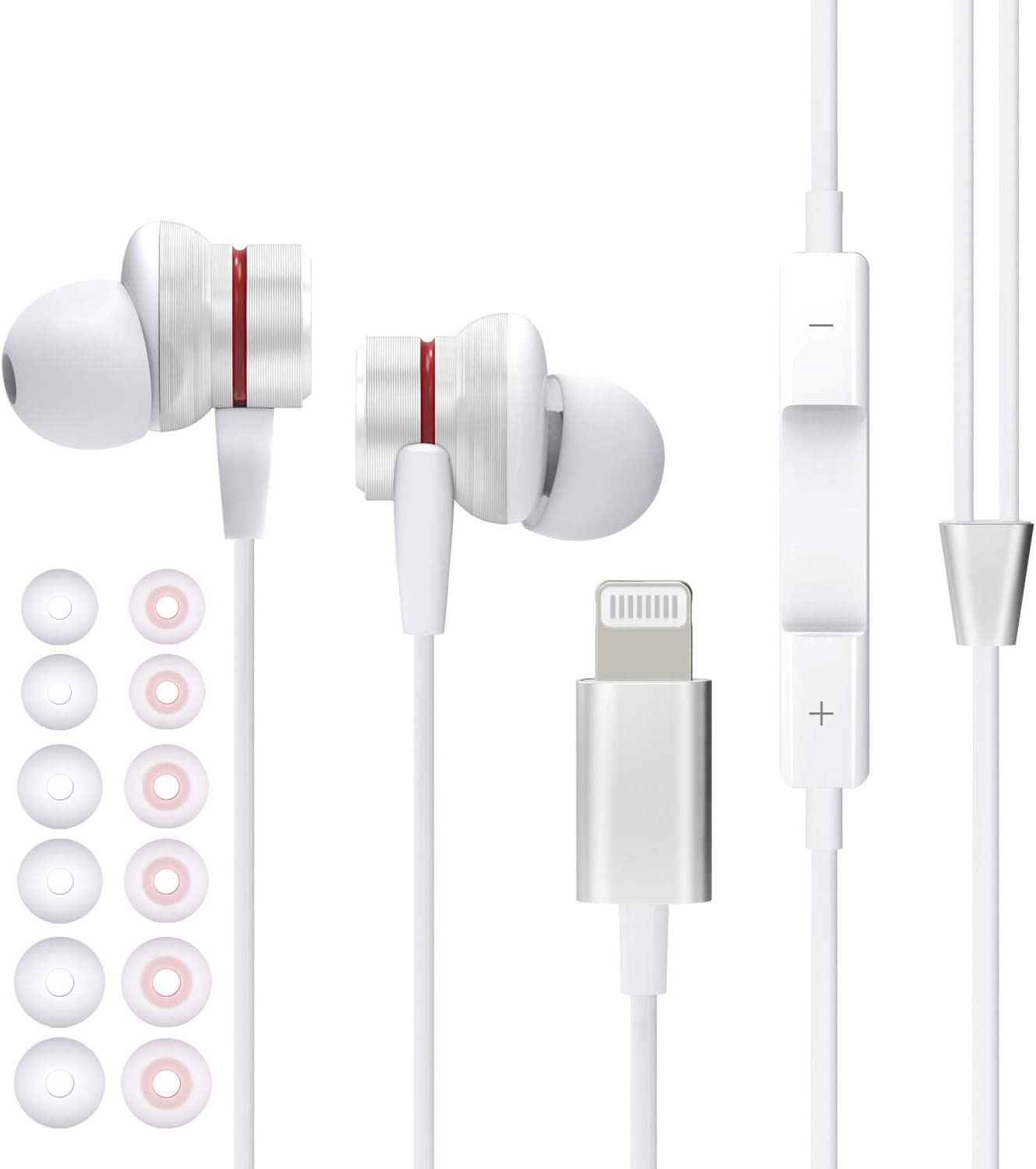 MFi Certified Lightning Headphones Wired Earbuds for iPhone with Microphone and Volume Control Inear Earphones Noise Isolation Compatible iPhone 12/12 Pro/11/11 Pro, X/XS Max/XR, 7/8/Plus
