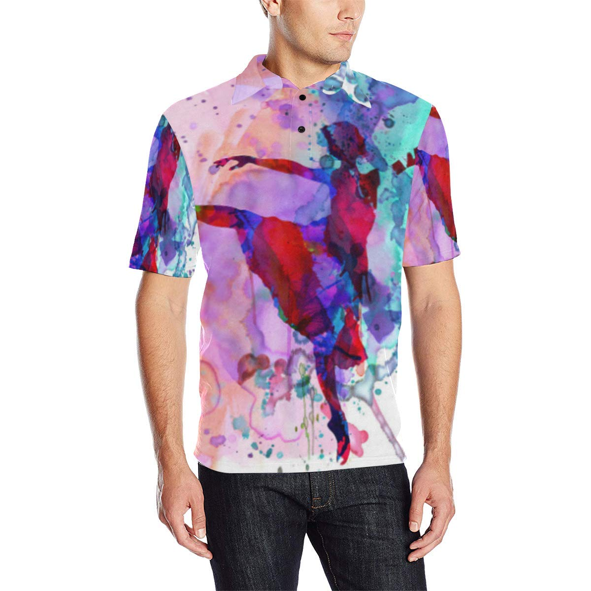 COL DOM Short Sleeve Dancer Art Mens All Over Print Polo Shirt