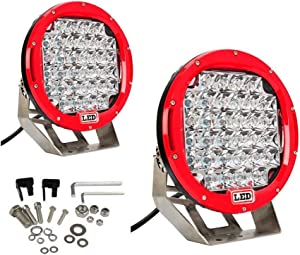 Lumitek 2x 185w 9 Inch Red Headlamp Lamp Round Led Off Road Light 5W CREE LEDS Spot Beam Led Work Light Fog Light Driving Light Roof Bar Bumper for SUV Boat 4x4 Jeep …