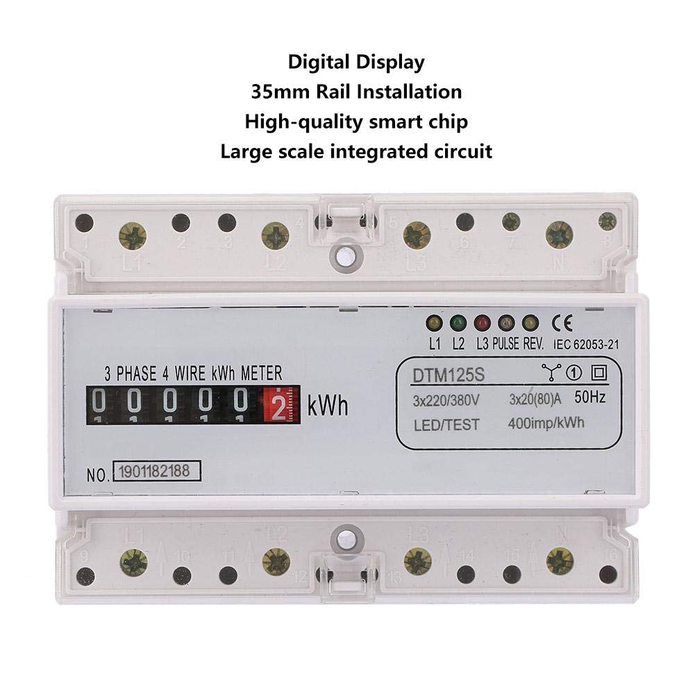 380V 20-80A Triphas/é sur Rail DIN Kilowatt Heure Compteur KWH Compteur de Courant Electrique Num/érique 220 Compteur dEnergie Num/érique EKM Comptage