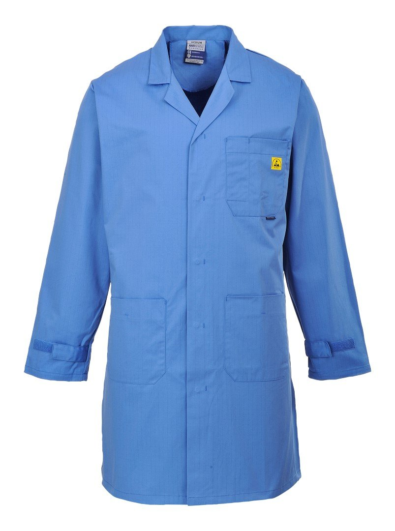 Portwest Workwear Mens Anti Static Coat HosBlu Small