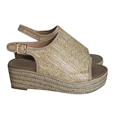 25f972f9f4f Women Platform Wedge Sandals Casual Espadrilles Open Toe Ankle Thick Heel  Roman Ladies Shoes Beige
