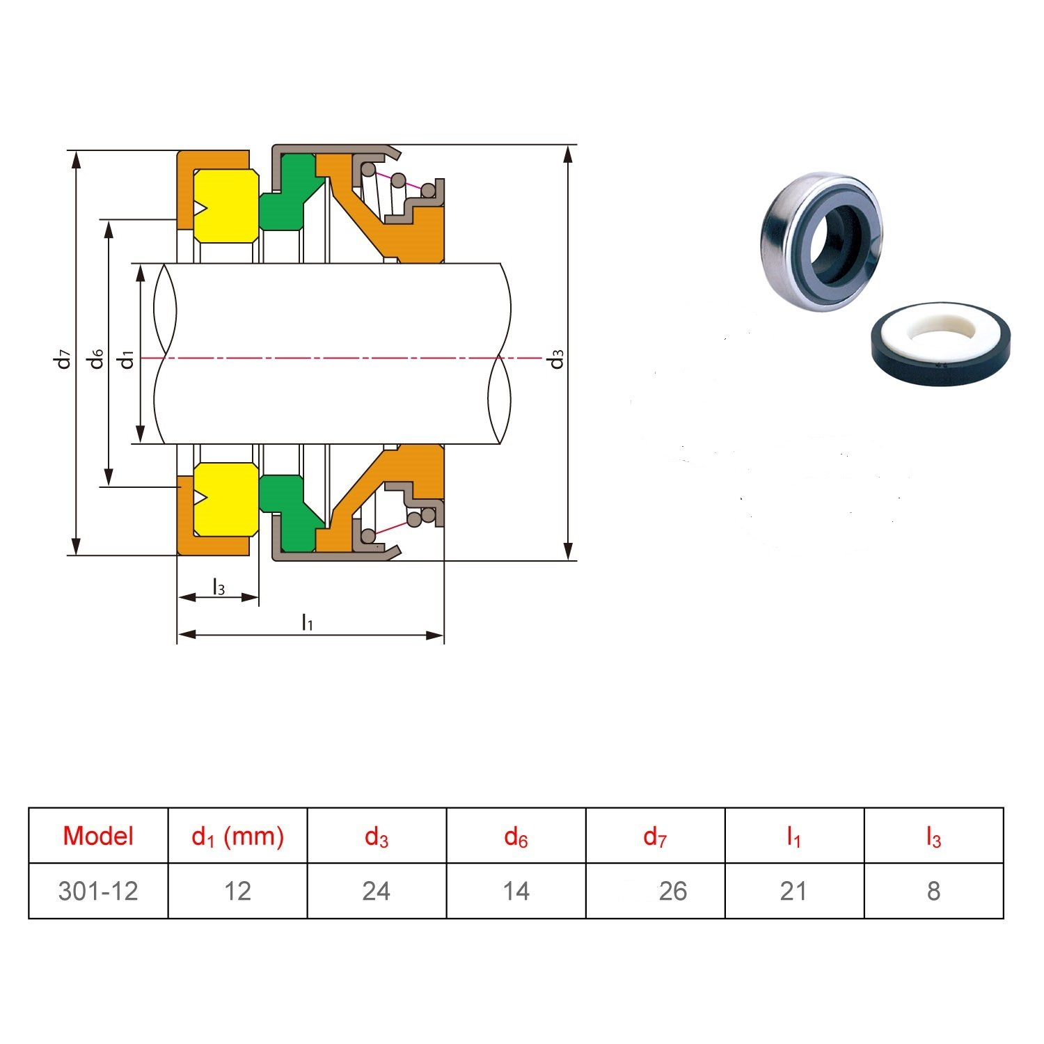 Gogoal Mechanical Seal 301 Shaft Size 12mm Replace Aesseal B01 Taco Wiring Diagram Sf5 And Flowserve 118 For Water Pump