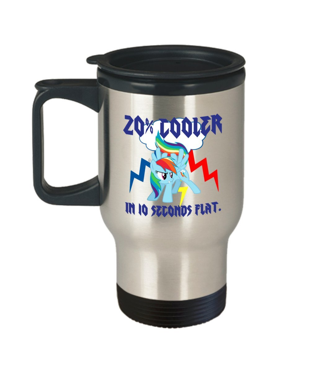 20% Cooler in 10 Seconds Flat Rainbow Dash Stainless Steel Travel My Little Pony Coffee or Tea Mug Great Gift for Brony or Pegasister, Lover of MLP or Equestria Girls, MLP Cup Gift for Adults, Twiligh