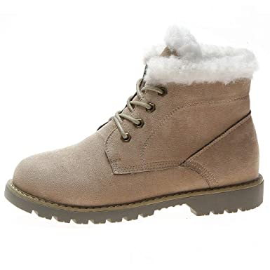 4a05ac40d988 Amazon.com: Memela Women's Shoes Winter Warm Snow Boots Flats Lace up  Leather Short Ankle Boot: Clothing