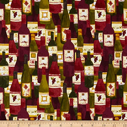 Clothworks Rhone Valley Toss Wine Fabric by The Yard ()