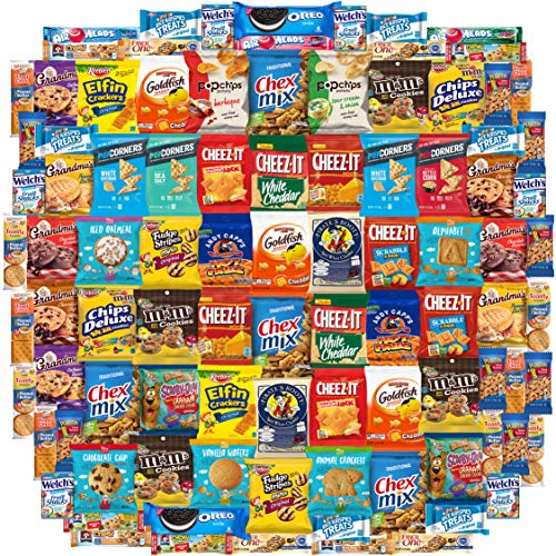 Snack Chest Snacks Care Package Gift Assortment Sampler Mixed Bars, Cookies, Chips, Candy for Office, Military, College, Meetings, Schools, Friends & Family (100 Count)]()