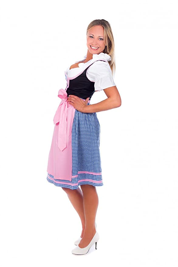 Trachtenhandel Mini Dirndl 3-Tlg. Blue Checkered Pink Trim With Matching Blouse And Apron 32: Amazon.co.uk: Clothing