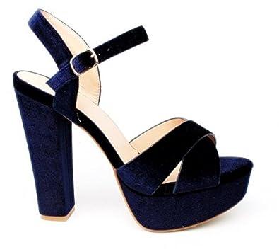 c86993ee3a6c Damen Riemchen Abend Sandaletten High Heels Pumps Slingbacks Velours Peep  Toes Party Schuhe Bequem 07  Amazon.de  Schuhe   Handtaschen