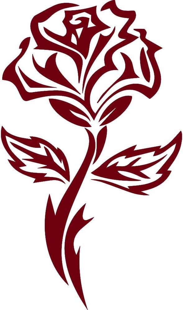 NBFU DECALS Tribal Rose Flower Art 1 (Burgundy) (Set of 2) Premium Waterproof Vinyl Decal Stickers for Laptop Phone Accessory Helmet Car Window Bumper Mug Tuber Cup Door Wall Decoration