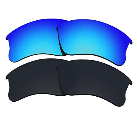 ee08f9bbc20 Amazon.com  2 Pairs COLOR STAY LENSES 2.0mm Thickness Polarized Replacement  Lenses for Oakley Flak Jacket XLJ Black   Blue  Sports   Outdoors