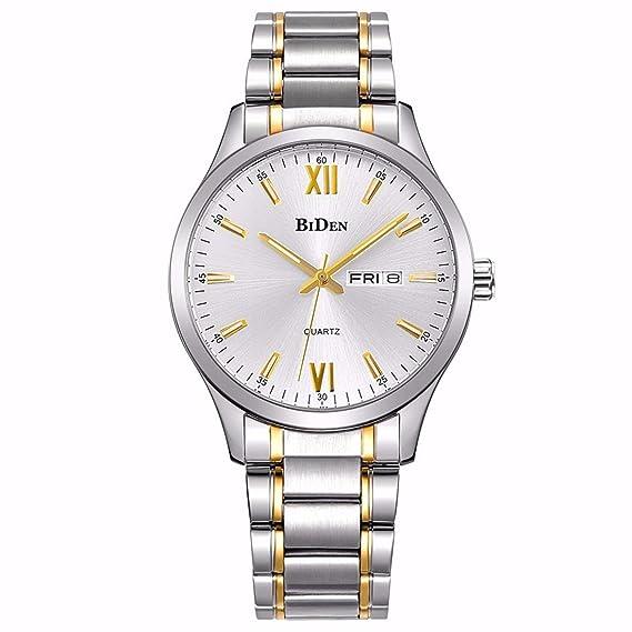 Relojes, relojes para hombre reloj de acero inoxidable de oro reloj de pulsera de cuarzo analógico de lujo de la moda de lujo: Amazon.es: Relojes