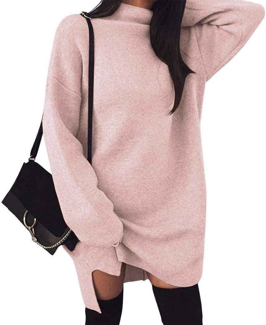 فستان نسائي كاجوال طويل الأكمام مزود بحياكة دافئة وثابتة بلون وردي فاتح من wumedy