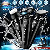 #2: Electric Razor Shaver for Men, 4 in 1 Dry Wet Waterproof Mens Rotary Shaver Portable Face Shaver Travel Rechargeable Beard Trimmer USB Cordless Nose Trimmer Facial Cleaning Brush for Dad, Husband