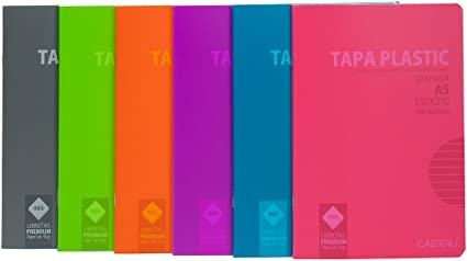 Casterli - Pack de 6 cuadernos grapado, tapa plástico, tamaño A5 ...