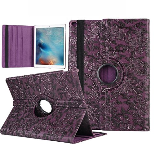 iPad Pro Case, TabPow [360 Rotating][Flip][Smart Case] Wine Purple Grapevine PU Leather Flip Case [Magnetic Closure] Smart Cover With Stand [Auto Sleep/Wake] For iPad Pro / iPad 6th Gen (2015 Edition) (Grapevine Pedestal)