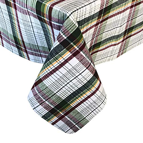 Lintex Stewart Tartan Plaid Contemporary Christmas Cotton Fabric Tablecloth - Hunter Green, Burgundy and Metallic Silver Casual Plaid Easy Care Holiday Tablecloth, 52