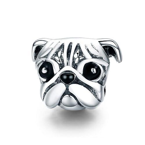 95203f08025 Everbling Lovely Pet Pug Dog Head 925 Sterling Silver Bead Fits European Charm  Bracelet