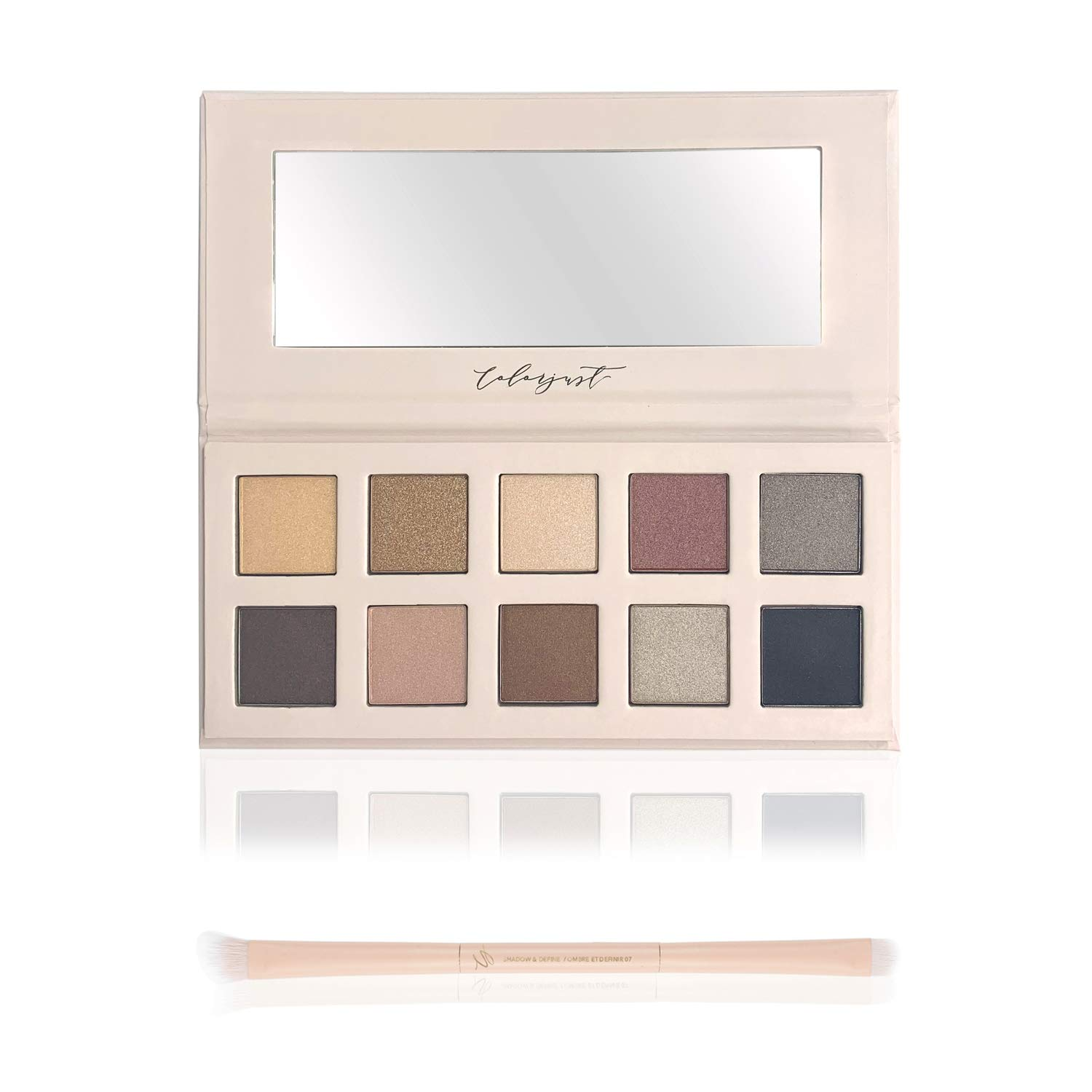 Colorjust Shadow Shade Shimmer Eyeshadow Palette, 10 Shimmer Shadows & Dual-Sided Application Brush for Wet & Dry Application