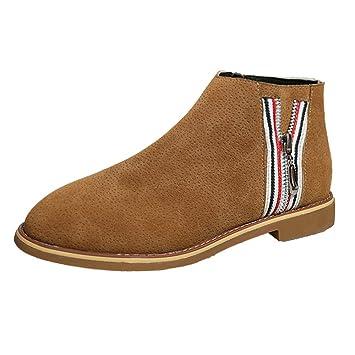 Bota planos cremallera de mujer,Sonnena Botas a la moda de mujer Vintage Botines Zapatos de fondo plano de cuero suave Cómodo calzado de arranque: ...
