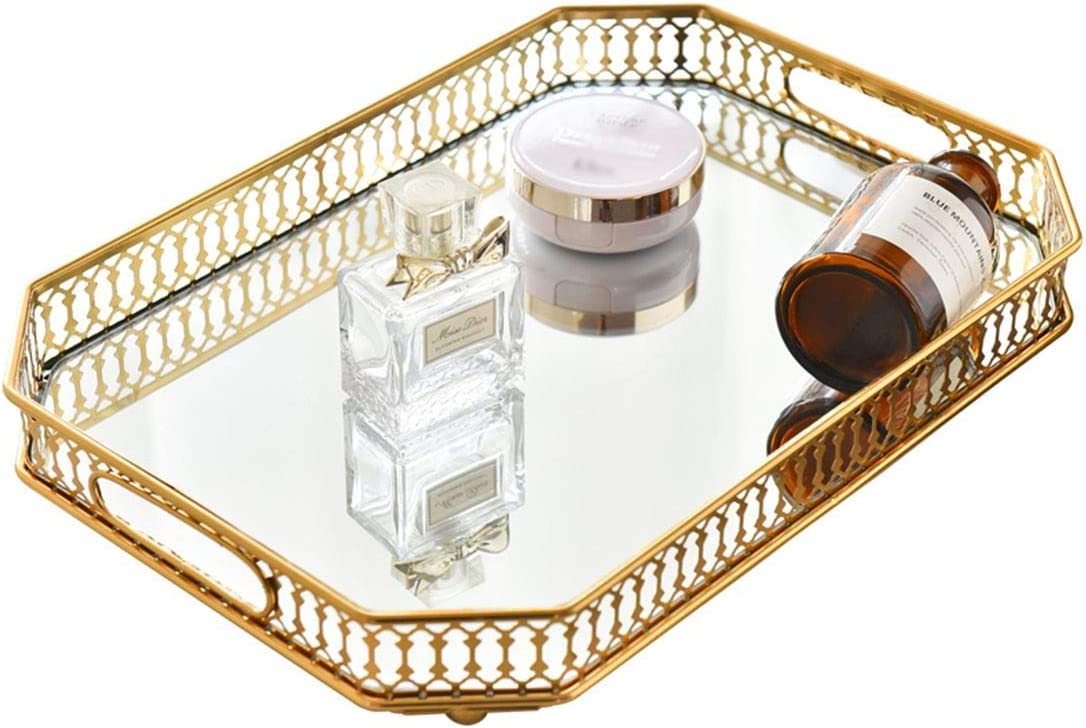 Mirror Tray, Vanity Tray with Square Metal for Dresser Bathroom Bedroom Countertop Organizer, Large 13.8''X9.6''X2.2
