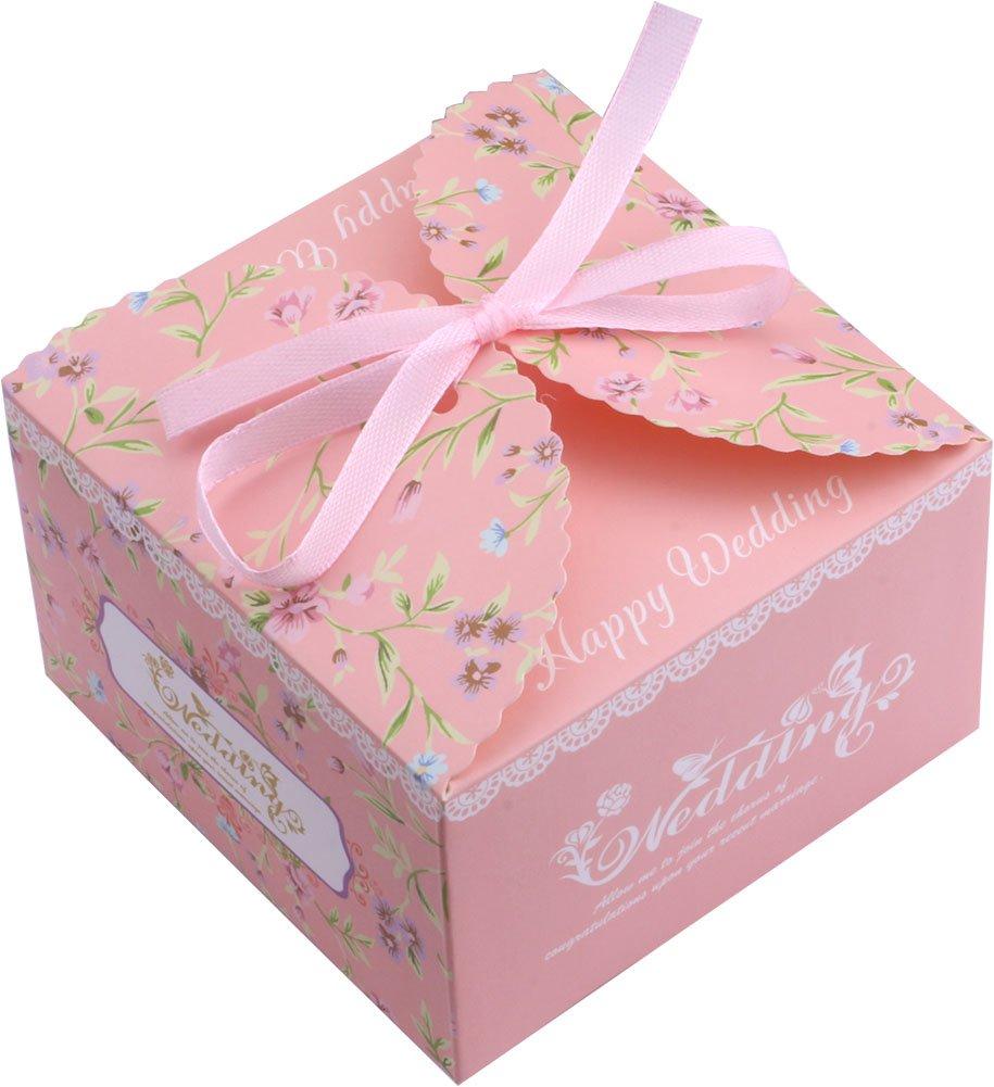 Amazon.com: DriewWedding 50PCS Square Wedding Bridal Favor Candy ...