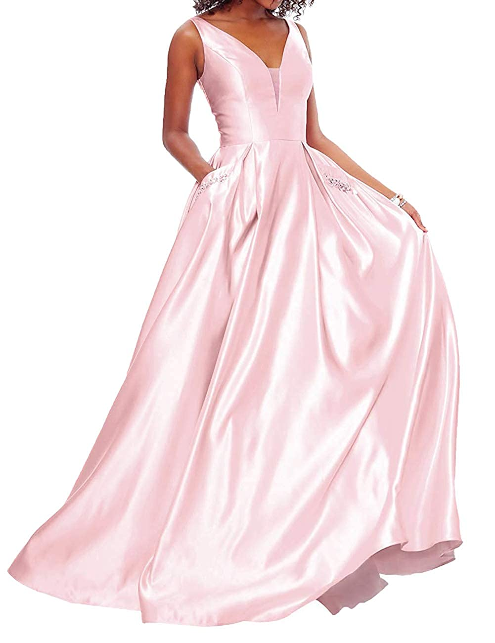 bluesh Pink JAEDEN Prom Dresses Long Evening Gowns Formal V Neck Prom Dress Sleeveless Evening Dresses Party Gown with Pocket