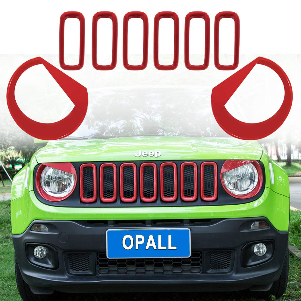 9PCs RED Opall 【Upgrade Clip-in Version】 Front Light Bezel Angry Bird Style Headlight Lamp Covers Trim /& Front Grille Inserts Mesh ABS Grill Guard Cover Trim ABS Fit for Jeep Renegade 2015-2018