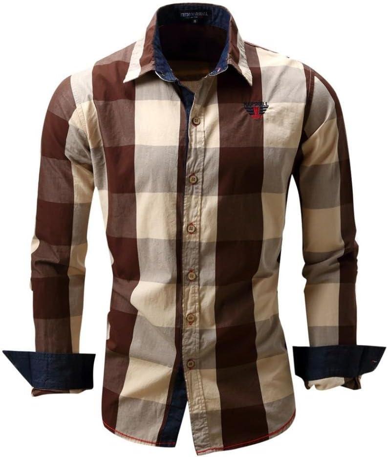 Camisas hombre Camisa de manga larga de dril de algodón cuadros solapa Mejores cuadros Fit Slim, YanHoo® camisas hombre comprar Casual para hombre manga larga camisa del negocio (Marrón, M): Amazon.es: Iluminación