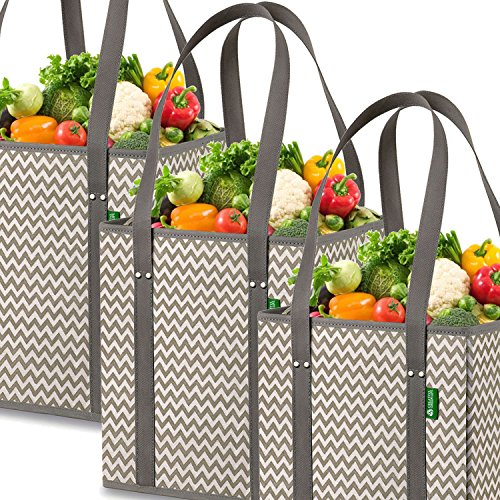 Reusable Grocery Shopping Box Bags (3 Pack - Chevron). Stylish, Premium Quality, Heavy Duty Tote Set with Extra Long Handles...