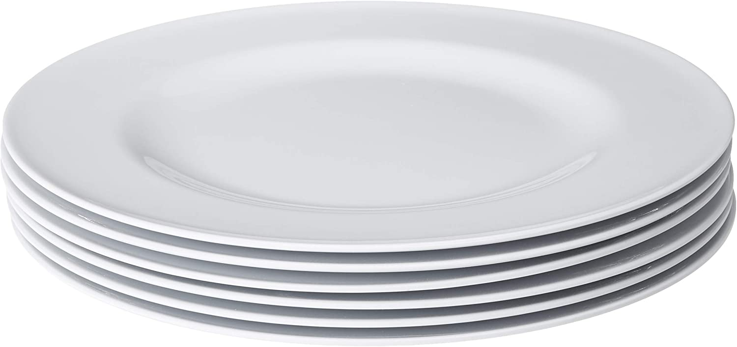 Bayview Essentials- Shatter-Proof and Chip-Resistant Classic Melamine Dinner Plate- Set of 6- 10.5 inches (White)