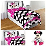 Disney Minnie Mouse Complete Bedding Comforter Set with Plush Pillow Toy - Full