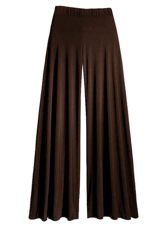 Womens Wide Leg Flattering High Waist Stretch Palazzo Brown ML
