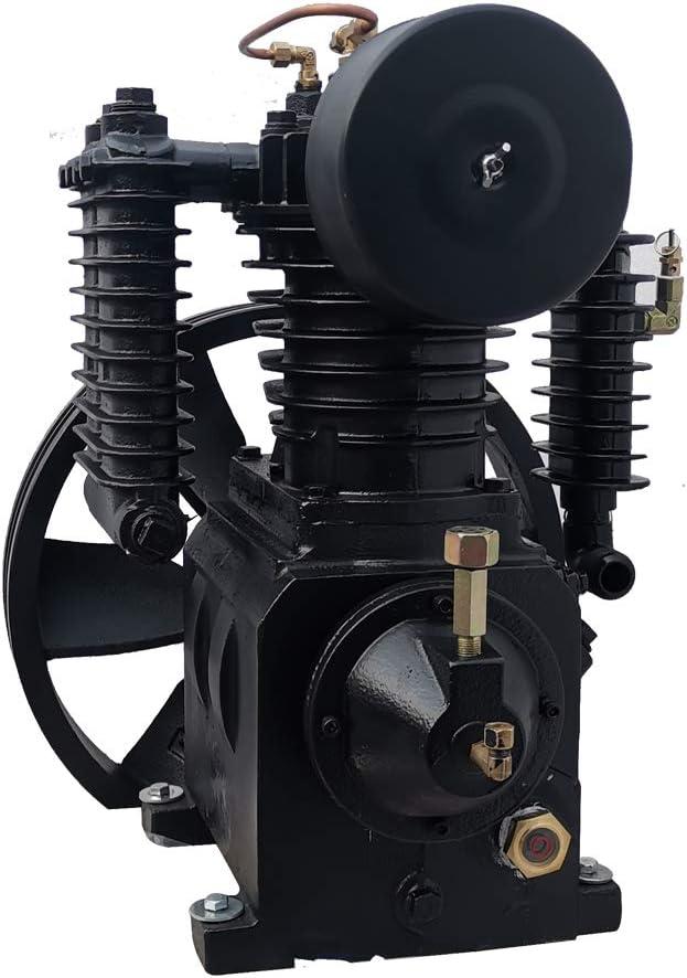 HPDAVV Piston Air Compressor Head Pump - 5.5HP - 2 Cylinder - 2 Stage - 14.8 cfm @ Max 180 psi - Gas Driven Cylinder Replacement Reciprocatory Compressor Pump 705 SC23 LP205