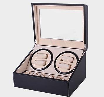 L-life Cajas giratorias Negro PU Caja de Reloj automático agitador eléctrico Reloj de Lujo Winder Cases 4 + 6 Almacenamiento de Cuero Visualización del Reloj Winder Box Automatic Rotation: Amazon.es: Hogar