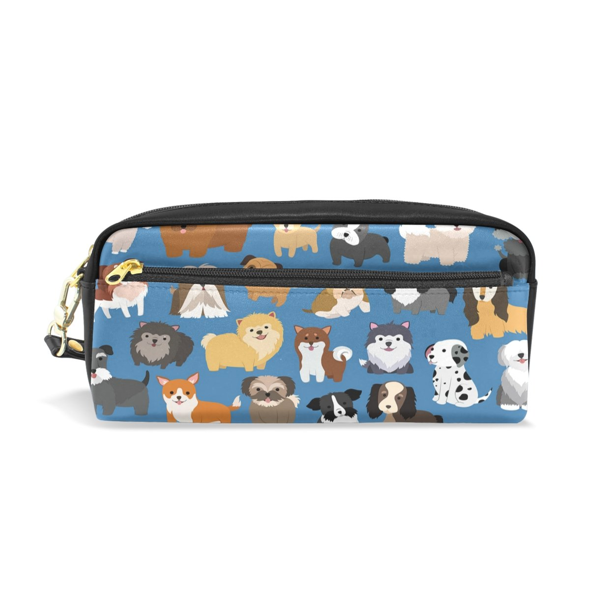 ShineSnow Cute Dog and Puppy Set Student Pen Pencil Case, Cartoon Animal Blue Office Zipper Coin Storage Organizer Purse Pouch Women Cosmetic Makeup Bag