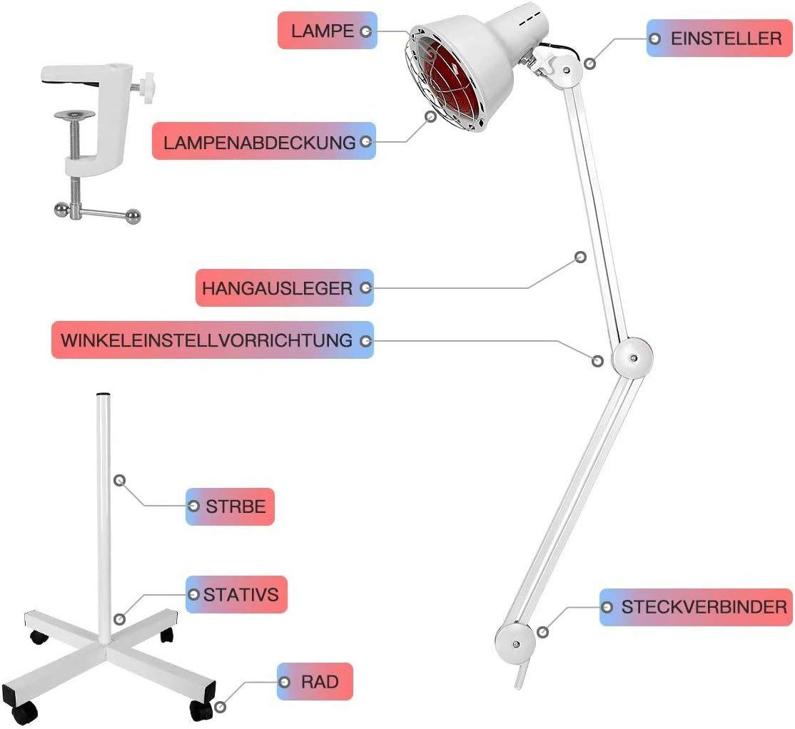 Physiotherapie-Lampe Infrarotlampe 275W W/ärmelampe Rotlicht Strahler Infrarot-W/ärmestrahler Konstante Temperatur Rotlichtlampe