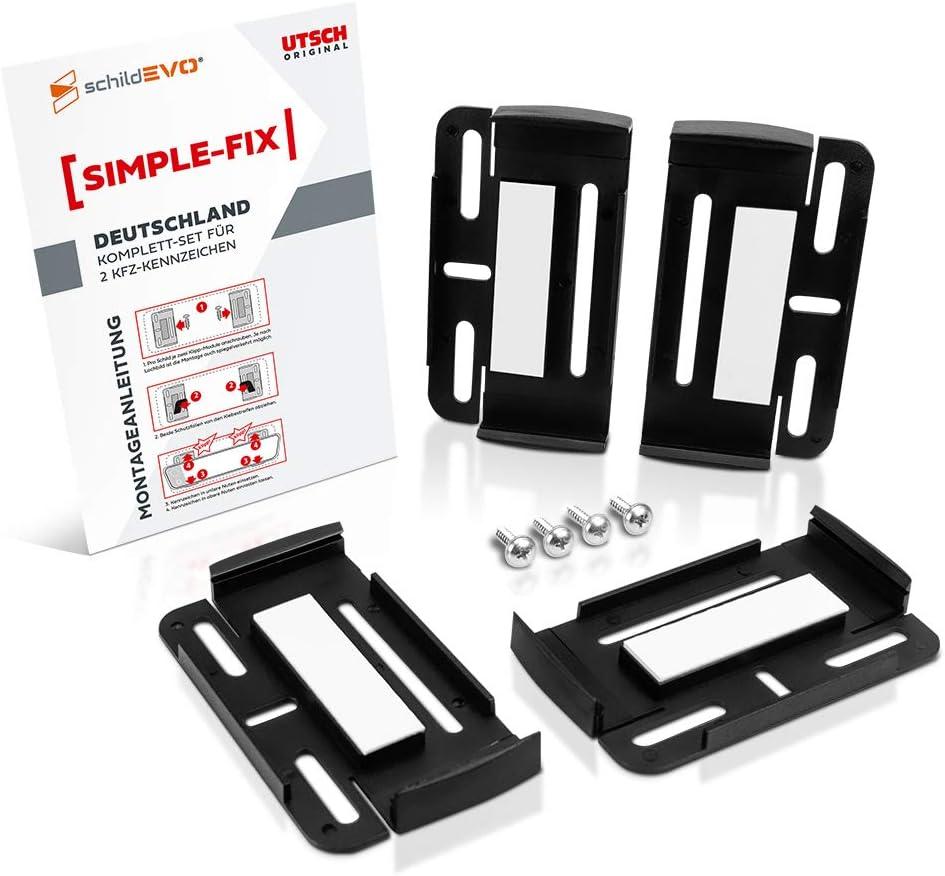 Schildevo Kennzeichenhalter Für 2 Autokennzeichen Simple Fix Rahmenlose Nummernschildhalter 2er Set Auto Pkw Kfz Nummernschildhalterung Auto