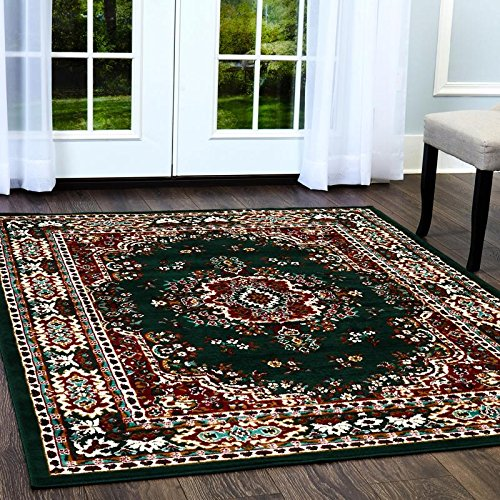 Hunter Green Area Rug - Home Dynamix Premium Sakarya Area Rug by Traditional Persian-Inspired Carpet | Stylish Medallion Print and Classic Boarder Design | Hunter Green 3'7