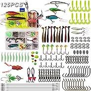 Fishing Lures Kits Tackle Box,JSHANMEI 125PCS Saltwater Freshwater Plastic Worm Lure Crank Bait Topwater Lure