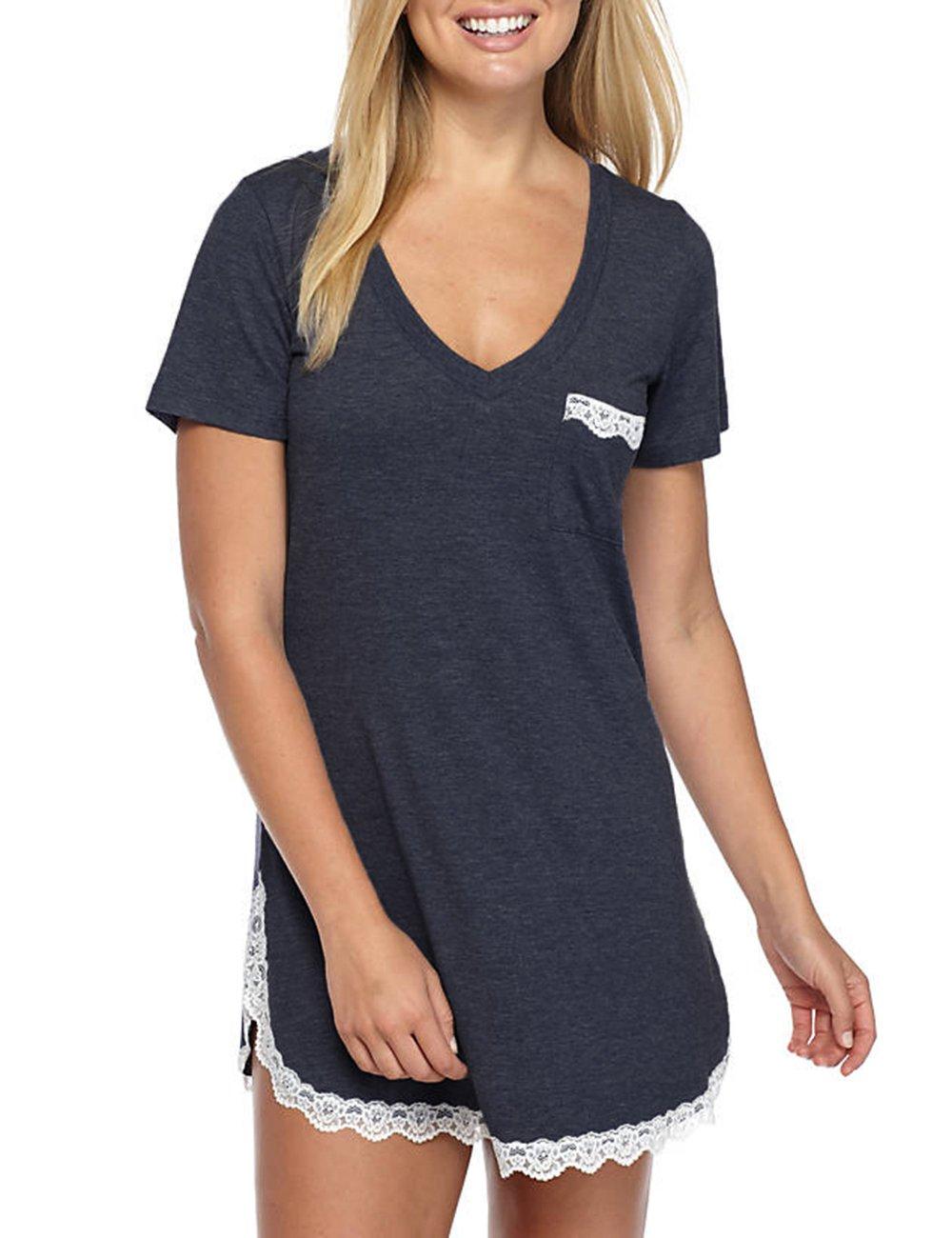 Sechico Women's Nightgown Short Sleeve Lace Chemise Shirt Sleepwear