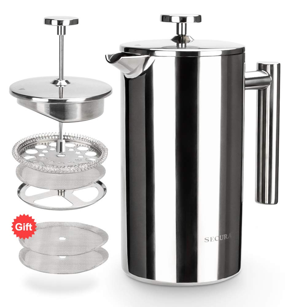 Secura Stainless Steel French Press Coffee Maker 18/10 Bonus Stainless Steel Screen (1000ML