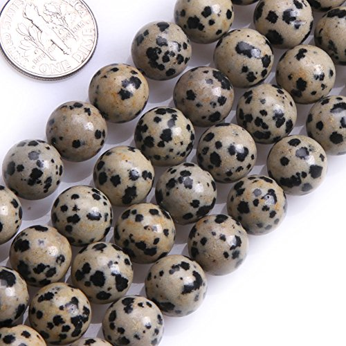 Jasper Multi Strand - GEM-inside 10MM Round Dalmation Dalmatian Jasper Stone Beads For Jewelry Making Loose Beads Strand 15 Inches