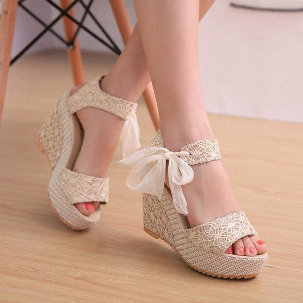 ChyJoey Womens Wedge Platform Sandals Lace Bowknot Summer Comfortable Peep Toe High Heels Beach Sandal