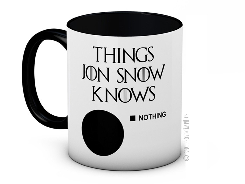 Things Jon Snow Knows - Nothing - Game of Thornes - Taza de café de alta calidad: Amazon.es: Hogar