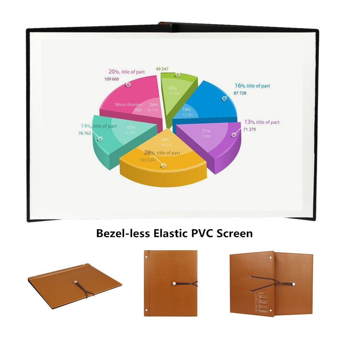 Projector Screen Book Screen Business Portable Mini Projection Screen with Elastic PVC Matte